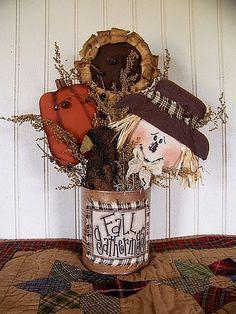 primitive fall decorating ideas   Primitive Autumn Fall Gatherings Can