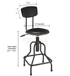 Stools   Steel & Wood   Vinyl Industrial Stool With Backrest - Pneumatic Height Adjustment   249018 - GlobalIndustrial.com