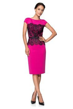 Neoprene and Lace Overlay Dress