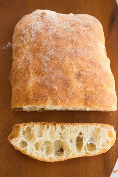 Ciabatta Bread Recipe-must start at least 8 hours-up to 24 hours before baking because it uses sponge. I see ciabatta bread in my future. Homemade Ciabatta Bread, Homemade Breads, Bread Machine Recipes, Ciabatta Bread Machine Recipe, Water Bread Recipe, Think Food, Bread Rolls, Sweet Bread, Vegetarian Recipes