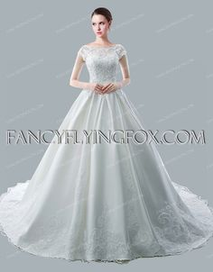 Glamorous Lace Bridal Gown 2016 with Cathedral Train