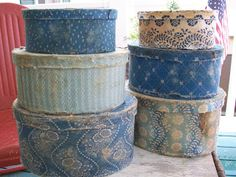 Antique fabric covered boxes, perfect display for the primitive farmhouse Fabric Covered Boxes, Fabric Boxes, Navy Blue Decor, Paper Mache Boxes, Vintage Fairies, Trunks And Chests, Wall Boxes, Country Blue, Painted Boxes