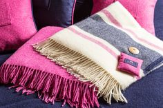 Our Fuchsia and Cream Britannia blankets are British wool and the colours are perfect for the summertime. Cozy up at night and breathe in the soothing aroma of Chilcott lavender, found in the fresh lavender bag buttoned to the corner. Lavender Bags, The Fresh, Cosy, British, Colours, Pretty, Blog, Shopping, Beautiful