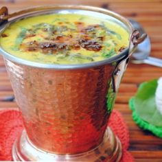 A hearty Indian style spinach and yogurt soup.