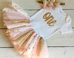 Pink and Gold Fabric Tutu First Birthday Tutu by PrettiestPropShop