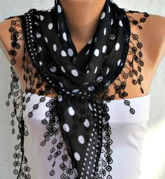 Black White Scarf  Cotton Scarf  Headband Necklace by fatwoman, $15.00