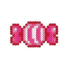 Candy perler beads Pearler Bead Patterns, Perler Patterns, Pearler Beads, Fuse Beads, Christmas Perler Beads, Hama Beads Design, Iron Beads, Beaded Cross, Kawaii
