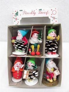 Vintage Christmas Spun Cotton Pine Cone Gnome Pixie Elf Dwarf Ornament Set IOB