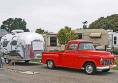 Vintagetrailercamp.com - User Photos :: 5th Annual TRAIL ALONG TO PISMO 2012 Preview :: P5140127A  1956 chevy truck 1956 airstream