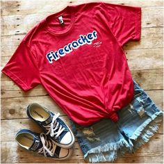 This patriotic unisex short sleeve tee is so fun & comfy. It features a super soft red tee with with white & blue wording. Unisex tee shirt fits larger than regular sizes. Fabric: 52% Cotton, 48% Poly