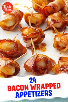 24 Bacon-Wrapped Appetizers 24 Bacon-Wrapped Appetizers 24 Bacon-Wrapped Appetizers<br> From appetizers to veggies to steak, these recipes prove a little bacon packs on loads of flavor. Bacon Wrapped Appetizers, Bacon Wrapped Shrimp, Bacon Wrapped Scallops, Wrapped Chicken, Holiday Appetizers, Appetizer Recipes, Appetizers For Bbq, Bacon Recipes, Cooking Recipes