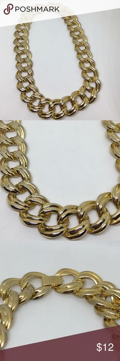 """Vintage 80s Big and Bold Gold Chain Necklace An 18"""" large link vintage chain, straight from the 80s. In very good vintage condition; only some very minor fading of plating in some spots. Just add your Power Suit with shoulder pads and you're ready to take on the world! Vintage Jewelry Necklaces"""