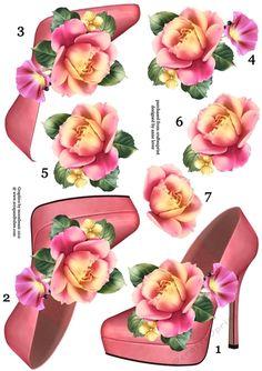Stunning Shoe & Summer Rose Decoupage Sheet - CUP714991_1763   Craftsuprint