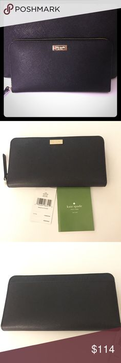"NWT‼️Kate Spade Laurel Way zip wallet Made with leather that is water and scratch resistant. Zip around wallet. 12 cc slots, 2 billfolds, change pocket and side pocket. 4""h x 7.6""w x .8""d This item is on sale here and on my personal website and will not last long at all!! kate spade Bags Wallets"