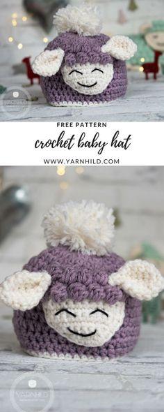Crochet Baby Hat - Sverre the Lamb. Free pattern on yarnhild.com Pattern in Norwegian and English