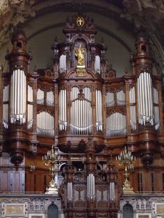 Sauer Organ inside the Berliner Dom Cathedral in Berlin, Germany. It has  7200 pipes!  My husband and I were speechless when we saw it.  Truly AMAZING!