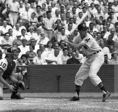 1959, Municipal Stadium, Cleveland, Rocky Colavito awaits a pitch vs. the Chicago White Sox in a pivotal game in September.