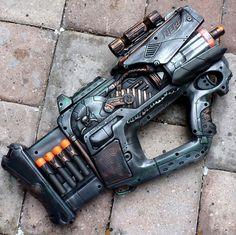 Steampunk Gun Nerf Firefly REV-8 N-Strike Victorian Gothic Zombie Soft Dart Toy