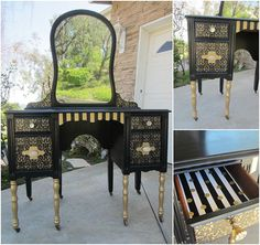 Pale Gold Metallic Paint Highlight a Beautiful Vanity Redo | Project by Vintage Rejuvenations | Modern Masters Cafe Blog
