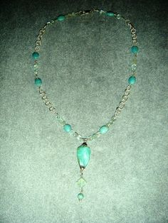 Sterling Silver Chain wire-wrapped with Amazonite and Aquamarine with a Blue Peruvian Opal Pendant