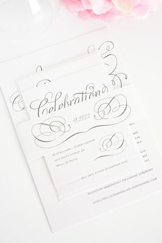 """""""Charming Script"""" wedding invitations in gray by Shine Wedding Invitations  http://www.shineweddinginvitations.com/wedding-invitations/charming-script-wedding-invitations"""