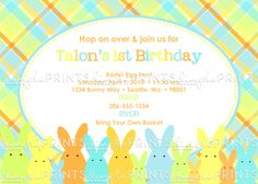 Easter Bunny Printable Birthday Invitation - Dimple Prints Shop  Birthday party invite easter bunny  boy