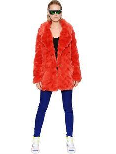 $346, Orange Fur Coat: Urban Code Faux Fur Coat. Sold by LUISAVIAROMA. Click for more info: https://lookastic.com/women/shop_items/126064/redirect