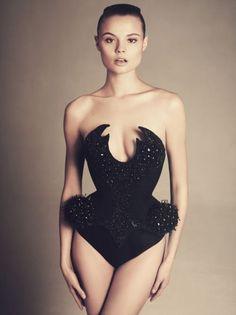 Magdalena Frackowiak deep v neck embellished bodysuit, sepia.