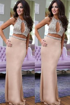 Charming Sexy Two Pieces Beaded Handemade Mermaid Long Prom Dress For Teens,Evening Dress,Prom Gowns,Prom Dress