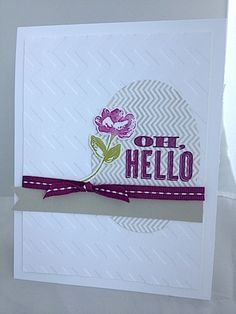 I love the Oh Hello set! Deb's CAS card also uses the Oval framelits, Chevron embossing folder, & richly colored ribbon.