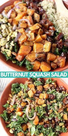 Introducing my FAVORITE healthy fall salad recipe! Spinach & kale are tossed with an avocado vinaigrette dressing, roasted butternut squash & quinoa in this gluten free, vegan kale salad recipe. Best part is, it's easy to make in only 35 minutes! Kale Quinoa Salad, Squash Salad, Quinoa Salad Recipes, Salad Dressing Recipes, Salad Dressings, Avocado Vinaigrette, Vinaigrette Dressing, Avocado Salads, Roasted Butternut Squash
