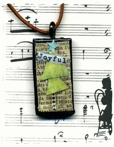 Altered domino pendant mixed media joyful by lizziebusyhandmade, $9.00