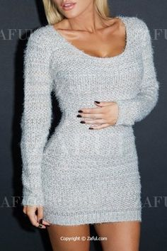 Pure Color Long Sleeve Bodycon Sweater Dress LIGHT GRAY: Sweater Dresses | ZAFUL