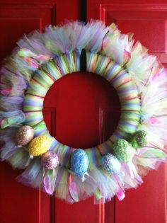 DIY:: Tulle Easter Wreath by Debbie Does Creations.