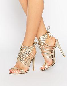 Chaussure A Talon Doré