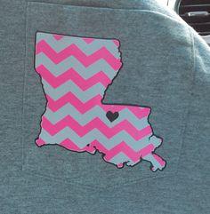 Louisiana Chevron Pocket TShirt, LSU chevron pocket Tee TShirt, Chevron Pocket Tee Shirt, Pocket Tshirt, Chevron Pocket Shirt, State Tshirt on Etsy, $20.00