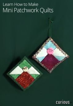Fun gift idea alert! Learn how to make adorable mini quilts, and then turn them into magnets, ornaments, pins, gift tags, and more!