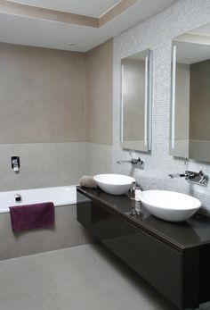 Master bathroom with marmorino polished plaster, porcelain tiles and hand-cut mosaics  Hampstead, London