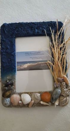 """Great Father's Day gifts for the office for family photos! (""""Stormy Beach Day"""" Frame) Handmade with Beach Sand and Hand Collected Sea Shells and Coral from the Carolinas! Clear coated so sand doesn't come off! They are both and wall hanging display! Seashell Picture Frames, Seashell Frame, Seashell Art, Seashell Crafts, Beach Crafts, Diy Home Crafts, Frame Crafts, Diy Frame, Seashell Projects"""