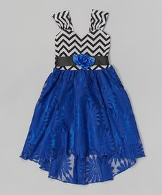 Love this Royal Blue Chevron Lace Dress - Toddler & Girls by Citlali's Choice on #zulily! #zulilyfinds