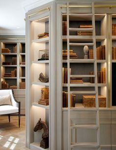 Home Library Design, Home Office Design, Home Interior Design, Interior Architecture, Design Desk, Home Libraries, Deco Design, Built Ins, Home And Living