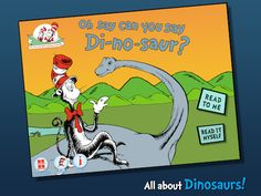 Here are 10 wonderful apps from the Cat in the Hat's Learning Library that can keep your little ones entertained during summer break. App Of The Day, Great Apps, Early Reading, Baseball Cards, Learning, Dinosaurs, Free, October, Science