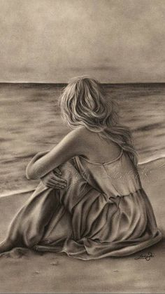 Ein Kunstdruck Glossy Emo Traditional Girl am Strand Ocean Zindy Nielsen - # Great Quotes, Me Quotes, Inspirational Quotes, Arte Emo, Grieving Quotes, First Art, Grief, Favorite Quotes, It Hurts
