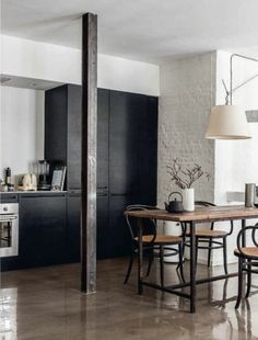 Floors in the Interior Design by Photographer Peter Kragballe — Webinspeer Home Design Decor, House Design, Home Decor, Design Ideas, Black Kitchens, Home Kitchens, Kitchen Pantries, Kitchen Cabinets, Kitchen Interior