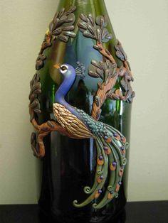 Peacock by ~Ban-Sidhe on deviantART Empty Wine Bottles, Wine Bottle Art, Diy Bottle, Bottles And Jars, Glass Bottles, Bottle Lamps, Paper Art Video, Sunflower Wedding Favors, Wood Craft Patterns