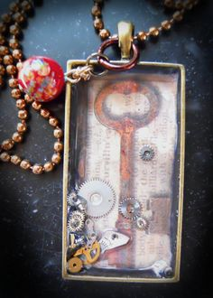 STEAMPUNK KEY PENDANT bezel metal tray necklace by tsmdesigns123, $17.00