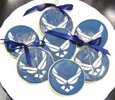 Custom Handmade Air Force Logo Sugar Cookie Favors for Air Force Promotion Air Force Graduation Military Wedding