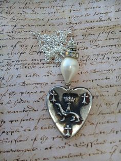 Silver Heart, Crown, Joan of Arc necklace, French Heraldic medal, ermine, Royal, Lilly, Fleur de Lys. baroque pearl, sterling silver, love, Vintage Pearls, Baroque Pearls, Royal Jewelry, Jewellery, Heart Crown, Joan Of Arc, Animal Jewelry, Sterling Silver Chains, Fashion Jewelry