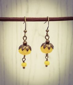 Mustard Yellow Faceted Glass and Bronze Drop/Dangle Hook Earrings [E86] by BourneBling on Etsy