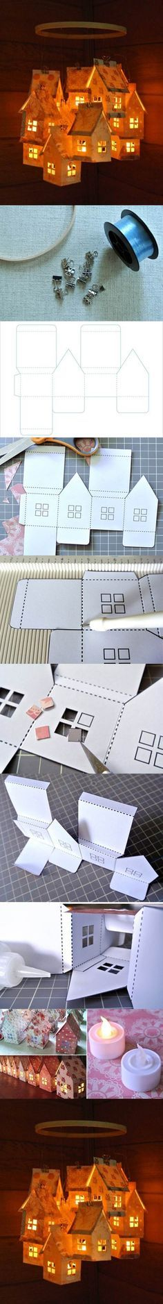 DIY de cartón en forma de pequeño pueblo de la linterna 2